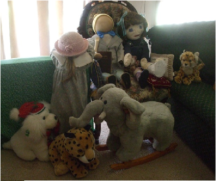 group of dolls and animals